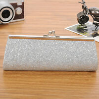 Women's Clutch Purse Evening Party Wedding Banquet Handbag Shoulder Bag Silver N