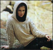 """Knitting Pattern • Ladies Aran Cable Hooded Sweater • Jumper Top • Hoodie 30-40"""""""