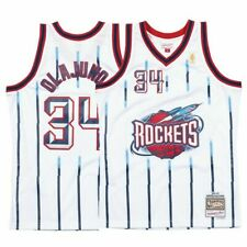 1996-97 Houston Rockets # 34 Olajuwon Mitchell & Ness NBA White Swingman Jersey