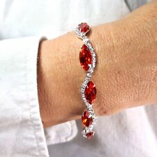 Silver Red Cubic Zirconia Diamante Crystal Tennis Bracelet Bangle Bridal Gift UK