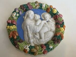 Della Robbia Madonna Jesus & John the Baptist Italian Pottery Wall Plaque