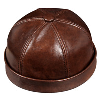 New Real Leather Mens Autumn Outdoor Vintage Round Cap Winter Warm Baseball Hat