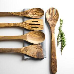 Olive Wood 5 Piece Kitchen Utensil Set - Length 35cm (5PC)