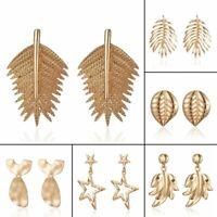Boho Gold Statement Leaf Ear Stud Earrings Dangle Women Party Charm Jewelry Gift