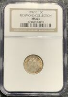 1912-D U.S. SILVER BARBER DIME ~ NGC GRADED MS63 RICHMOND! $2.95 MAX SHIPPING!