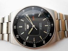 RARE VINTAGE ST STEEL MILITARY STYLE BLACK DIAL SEIKO 5 JAPAN GENTS WRISTWATCH