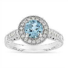 1.14 Carat Aquamarine Engagement Ring 14K White, Rose, Black, or Yellow Gold