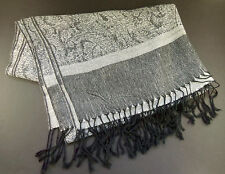 "Black White Gray Paisley Scarf Silk Pashmina Wool Blend Headscarf Wrap 27"" x 74"""