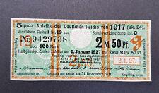 5 % Anleihe Deutschen Reichs 2,5 Mark Berlin 1917 Kupon Zinsschein Banknote(8094
