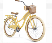"New Huffy 26"" Nel Lusso Women's Cruiser Bike with Perfect Fit Frame, Yellow"