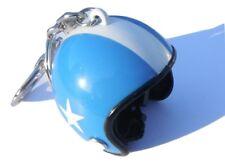 Blue Motorcycle Crash Helmet Key Ring Chrome Metal Key Chain Brand New