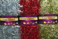 NEW CHRISTMAS TREE FINE TINSEL GARLAND DECORATION 1/5 METRE SILVER,GOLD,RED