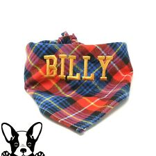 Personalised Handmade Embroidered Check Dog Bandana Neckerchief Red & Blue Check