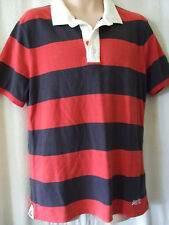 "NEW £50 SUPERDRY LARGE 40"" CHEST NAVY BLUE & RED RUGBY SHIRT POLO SHIRT"