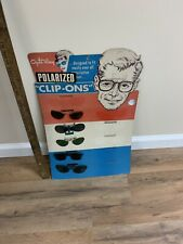 Vintage 60's OPTI-RAY Polarized Clip Ons Lens Sunglasses Store Display Sign