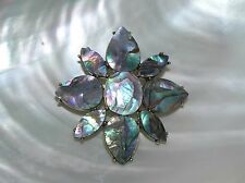 Estate Large Abalone & Antique Goldtone Flower Pin Brooch – 2 inches in diameter