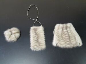Lot of 3 pieces (cosmetic bag, fur hairband and fluffy phone bag)