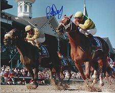 HOF Jockey Pat Day  autographed 8x10 color close up action  photo
