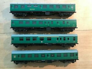 Graham Farish Grafar n gauge BR SR Green Mk1 Coaches x4. Unboxed