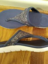 FitFlop Women's Uberknit Flip Flop Blue/Silver Sz. 5 Euro 36 Great Price!