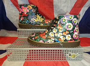 Rare*England*Girls 90s Vintage Floral Dr Doc Martens*Childrens Hippy Flower*UK12