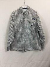 Men's COLUMBIA PFG Super Bonehead Small Button Up Shirt Red White Plaid Long Sle