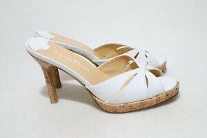 Isabella Brown Size 6 Womens Peep Toe Cork Detail Platform Half Shoe Heels