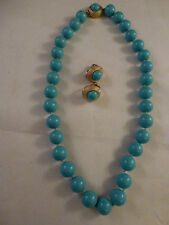 """Beautiful Vintage Ciner Signed Turquoise Glass Bead Necklace  15 """" inches long"""