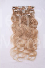 #22 hellblond Clip in GEWELLT Hair Extensions 100% Remy Echthaar 7 teiliges Set