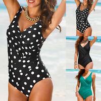 Women's Vintage Monokini One-Piece Bikini Suit Retro Swimwear Bathing Suit Beach