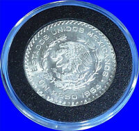 LARGE Brilliant Uncirculated SILVER MEXICO UN PESO Coin! War HERO Jose Morelos!