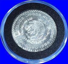 LARGE Brilliant Uncirculated Silver Mexico Un Peso Coin in Airtite Container!