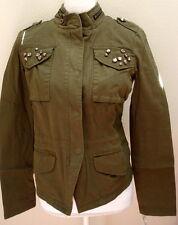 jacket xs extra small green studded new nwt lightweight cotton womens juniors