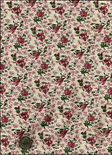 """""""New England Quilts"""" Print rose green on cream Fabric by Amiee Newell for Marcus"""