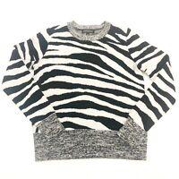 Banana Republic Womens Sweater Size Small Zebra Italian Merino Wool Pullover