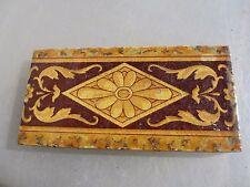 Antique Ceramic Border Tile Vintage Old Architectural Victorian Flower Gilt Leaf