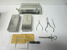 Lot misc stainless steel dental equipment-pliers, boxes, sterilizing equip?