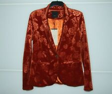 PULZ JEANS Paprika Orange Floral Print One Button Velvet Blazer size M UK 10