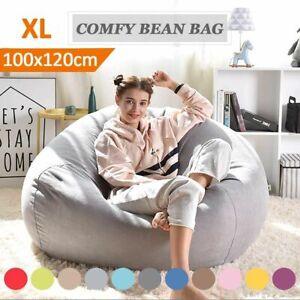Bean Bag Puff Chairs Without Filler Linen Cloth Lounger Seat Bean Bag