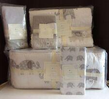 Pottery Barn Taylor Elephant Nursery Set 5pc Quilt Sham Bumper Sheet Skirt New