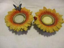 "PARTYLITE ""Sunflower Buddies"" Ceramic Tealight Candle Holders  P7119 & Tealights"