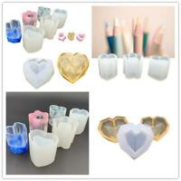 DIY Silicone Mould Stand Epoxy Pen Holder Box Heart Geometry Gypsum Table Decor