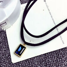 Two Layer Blue Crystal Black Gothic Velvet Cord Choker Necklace Pendant