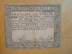 1775 1/6 DOLLAR MARYLAND CONTINENTAL COLONIAL CURRENCY MD-80 NOTE BILL FREE SHIP