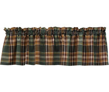 "Wood River Country Valance 72"" x 14"" Kitchen Park Designs Plaid Green Brown Tan"