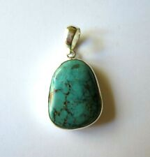 GENUINE  FREE FORM  TURQUOISE CABOCHON  STERLING SILVER  PENDANT NEW