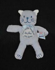 Peluche doudou chat bleu SUCRE D'ORGE un petit bonheur de plus sur terre 18 cm