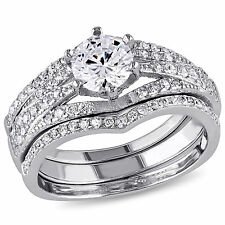 Sterling Silver Cubic Zirconia 3-piece Engagement Solitaire Bridal Ring Set