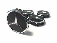 Mercedes-Benz Nabenkappen Radnabenabdeckung, erhaben, 4er Set schwarz matt