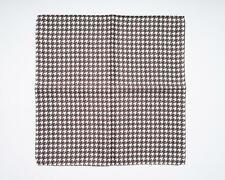 "Battisti Brown White Houndstooth Print 100% Silk Designer Pocket Square 13"""